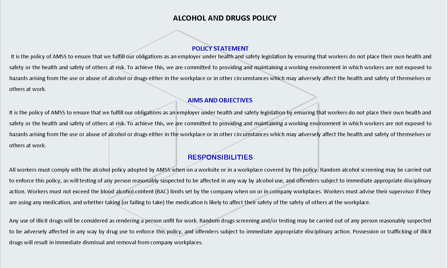 ALCOHOL & DRUGS POLICY