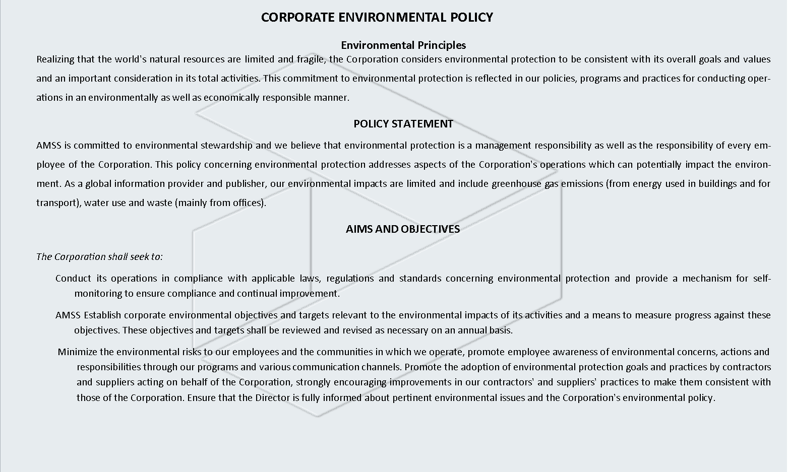 CORPORATE ENVIRONMENTAL POLICY1